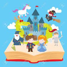 cartoon vector ilration of cute magical fairy tale kingdom story book prince princess