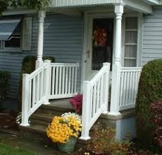 ... Outside Step Railings Outdoor Stair Railing Home Depot Small Front  Porch With Wooden Steps ...
