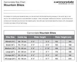 Cannondale Mountain Bike Frame Size Chart Cannondale Quick Bike Size Chart Best Picture Of Chart