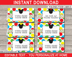 Mickey Mouse Party Food Labels Template