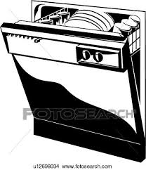 dishwasher clipart black and white. clipart - , appliance, dishwasher, kitchen, . fotosearch search clip art, dishwasher black and white