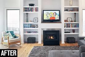 diy fireplace shelves after
