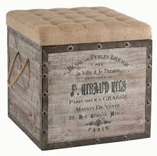 diy storage ottoman ideas french country vintage crate burlap cushion cube storage ottoman