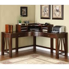 corner office desk wood. Corner Office Desk Ideas Using Wooden Writing With Hutch And Three Drawers: Wood