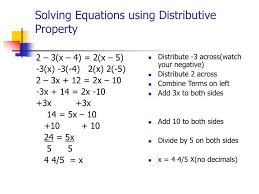 solving equations with variables on both sides solving equations using distributive property 2 3 x 4 2 x 5