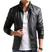 men black pu leather jacket