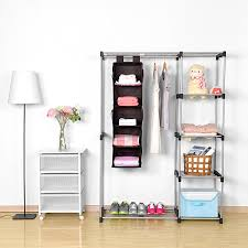 amazing clothes shelf 5 hanging closet organizer maid m a x brown accessory for and shoe storage ikea