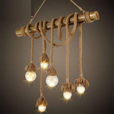 Retro Hemp Rope Vintage Industrial Lamp Pendant Lights