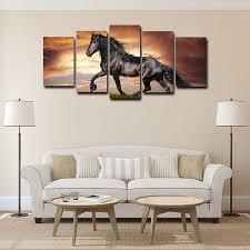 framed canvas art print black horse wall art canvas painting for home decor 5pcs