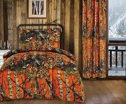 9 pc twin orange camo bedding sets