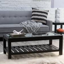 Slatted Coffee Table Sutton Glass Top Coffee Table With Slat Bottom Walmartcom