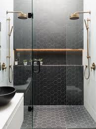 black hexagon tiles in shower