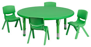 45 round adjule plastic activity table set with 4 school stack chairs contemporary kids tables and chairs by ere