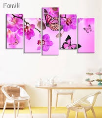 5 pieces frameless canvas photo prints purple orchid wall art picture canvas paintings home decor wall on purple orchid wall art with 5 pieces frameless canvas photo prints purple orchid wall art