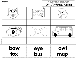 Cut & glue matching worksheets for 24 basic 3 letter words. Plus ...