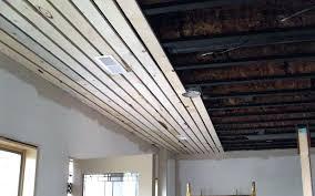 wood plank ceiling bathroom slat design strip basement l shaped and panels