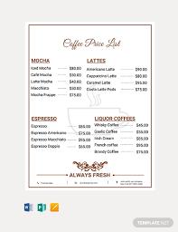 Microsoft Word Price List Free Coffee Shop Price List In Microsoft Word Publisher Apple