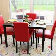 quick view 5 pc red leather 4 person table and chairs red dining dinette red parson chair
