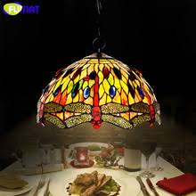 FUMAT Stained Glass Lamp Creative Art Dragonfly Glass Shade Lamp European  Style Living Room Hotel Kitchen Light Fixtures