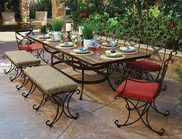 wrought iron outdoor furniture. Delighful Outdoor This Luxury Wrought Iron Outdoor Dining Set From OW Lee Features Six  Chairs A Bench And Coordinated Table The Largescale Arrangement  Inside Wrought Iron Outdoor Furniture