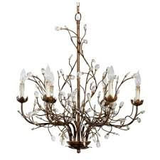 branch chandelier lighting. 6 Light Iron Branch Chandelier - Rust Lighting
