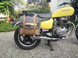 picture of leather and waxed cotton motorcycle saddlebag