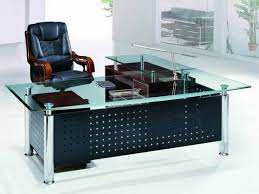 Stylish Black Leather Office Chair Added Contemporary Glass Top ...