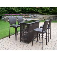 oakland living elite resin wicker 5 piece patio bar set