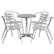 23 5 round aluminum indoor outdoor table set with 4 slat back chairs