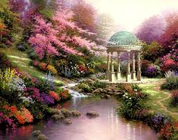 thomas kinkade pools of serenity 1999 saw this painting up close if you look at the left side background you will see white robe walking down the