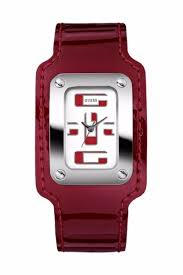 red patent leather band with a diamond bezel face makes this sterling silver guess watch a must have for your jewelry collection brand new in box