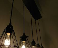 5 cage reclaimed wood chandelier modern industrial pendant
