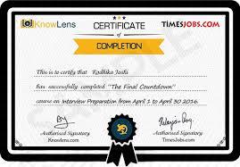 Knowlens Certificate
