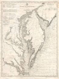 Potomac River Depth Chart 1893 U S Coast Survey Nautical Chart Or Map Of The Chesapeake Bay And Delaware Bay By Geographicas