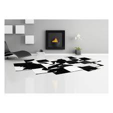 patchwork cowhide rug pixel black white