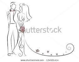Silhouette Of Bride And Groom Background Wedding Invitation The
