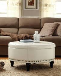 Desk And Table, White Leather Round Storage Ottoman Coffee Table: