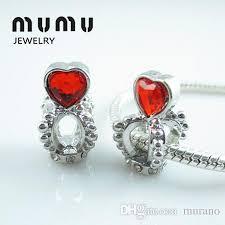 Diy Jewelry Silver Plated <b>Crown</b> Love Heart Beads Red Aolly <b>Big</b> ...
