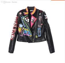 2018 whole europe tide brand new metal decorative painting personalized street trend leather motorcycle jacket women dongkuan from baimu