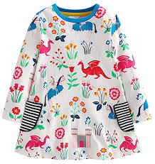 Fiream Girls Cotton Casual Longsleeve Cartoon Stripe Dresses