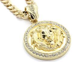 summer main section mens hq gold tone lion face black eyes pendant w 10mm