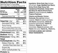 honey nut cheerios ing label