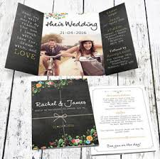 Wedding Invitation With Photo Bespoke Floral Chalkboard Wedding Invitation With Photo