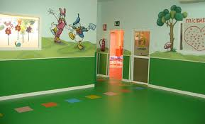 floors and wall covering rainbow kindergarten hallway