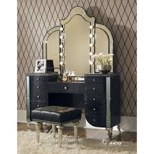 charming makeup table mirror lights. Black-vanity-table-with-mirror-with-leather-stool- Charming Makeup Table Mirror Lights