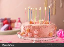 Beautiful Tasty Birthday Cake Candles Dessert Stand Stock Photo