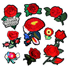 <b>1pcs</b>/<b>lot</b> Brand Patches Flowers <b>Embroidered</b> Patch Iron On Red ...