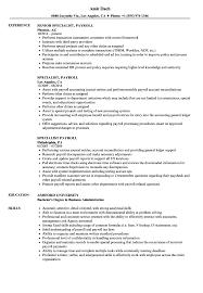 Specialist Payroll Resume Samples Velvet Jobs