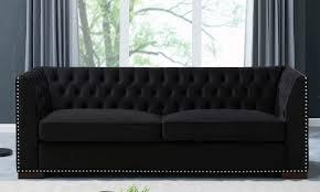 ord black velvet fabric 3 seater