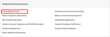 Payment Method Direct Deposit Student Financial Services